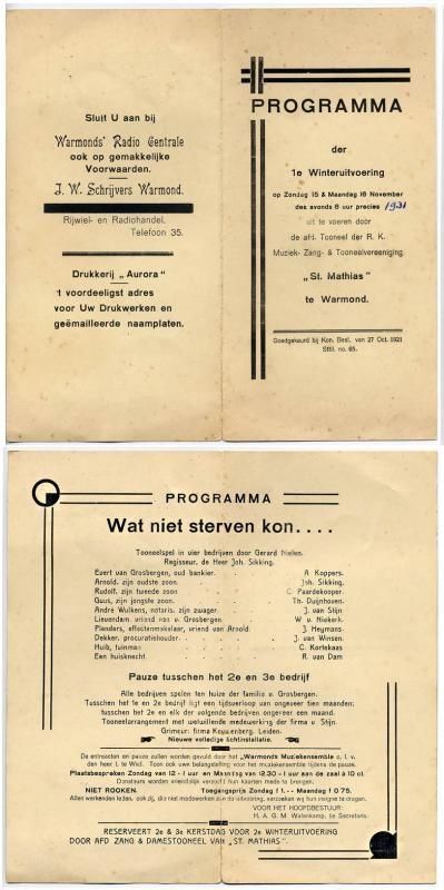 Wie niet sterven kon.... - november 1931 - regie Joh sikking